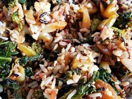 Fried Wild Rice with Quinoa and Kale