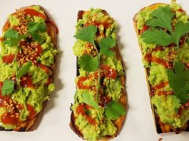 Vegan Sweet Potato Toast with Guacamole