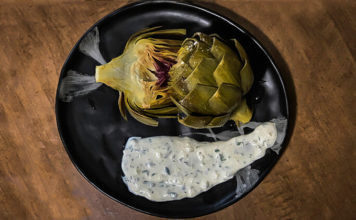 Braised Artichoke with Lemon Garlic Aioli